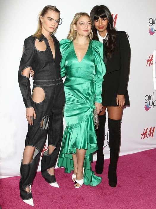 Kate Hudson poses with fellow honorees Cara Delevingne and Jameela Jamil at the Girl Up #GirlHero Awards