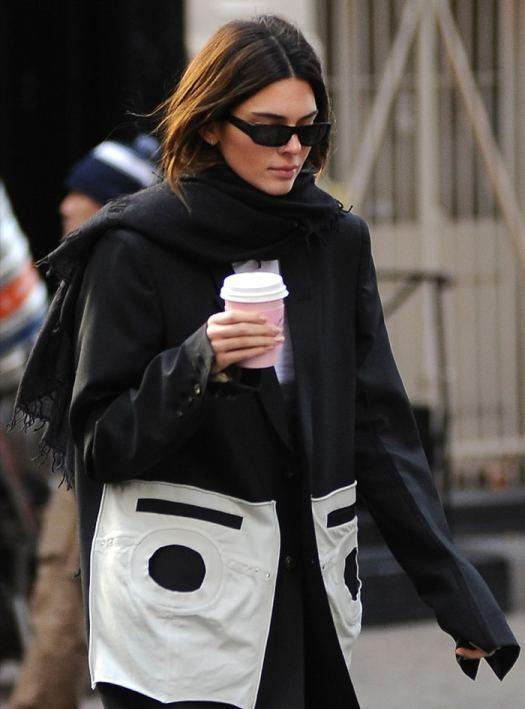 Kendall Jenner sported sleek Carolina Lemke shades made in collaboration with Kim Kardashian West