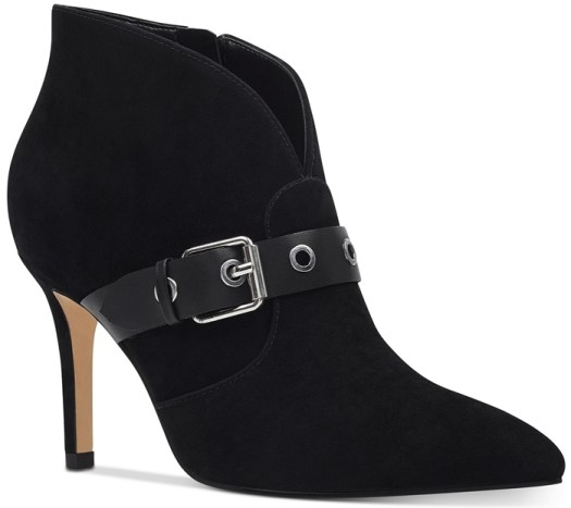 Black Suede Buckled Nine West Jax Pointy-Toe Booties
