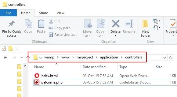 CodeIgniter Controllers folder