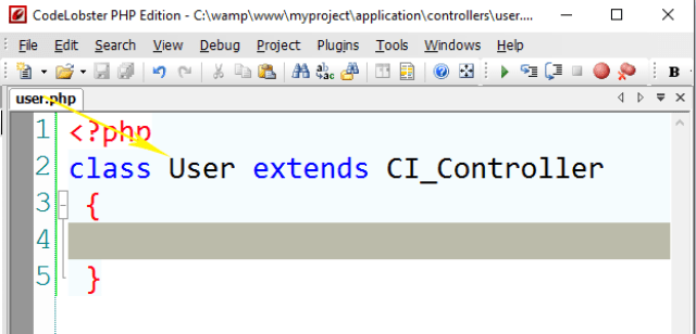 Creating a CodeIgniter Controller class file