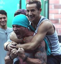 Caleb Reynolds celebrates his HOH win with Frankie Grande on Big Brother 16 Episode 20 Double eviction