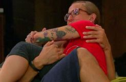 Cody Califiore and Christine Brecht cuddle in  the Big Brother 16 house on Episode 24