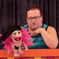 Ginger Minj with her Violet Chachki drag puppet on RuPaul's Drag Race season 7.