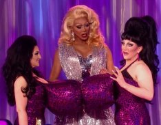 Ben De La Creme along with a Michelle Visage look alike present the award for Miss Congeniality on the finale of Re Pauls Drag Race