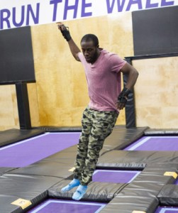 Dujean Williams has fun and makes quick work of the trampoline obstacle course on The Amazing Race Canada 3