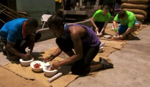 Brent Sweeny and Sean Sweeney and Ope Fagabongbe and Simi Fagabongbe grind up chilis on Amazing Race Canada 3