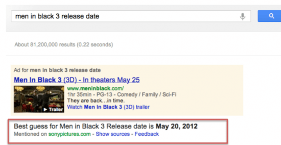 "Google US search result for ""men in black 3 release date"""