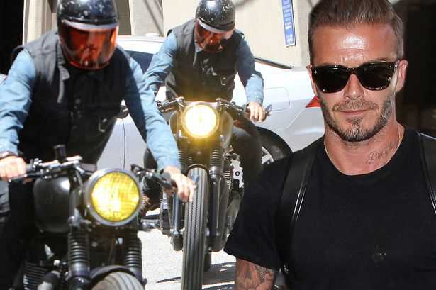 David Beckham Spends Time Biking With Friends on his Triumph Bonneville T100 Motorcycle