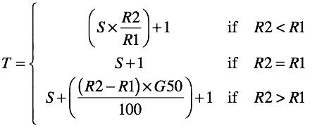 Equation 1: Standard Edition D/L Target Formula