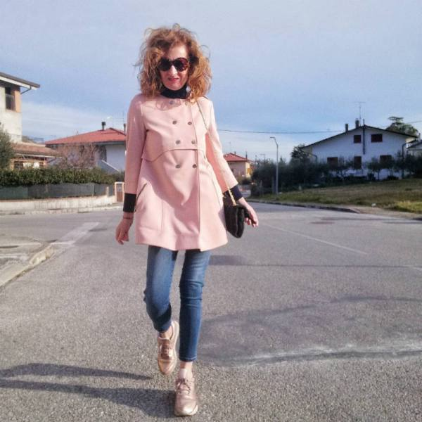 pink long A-shaped jacket