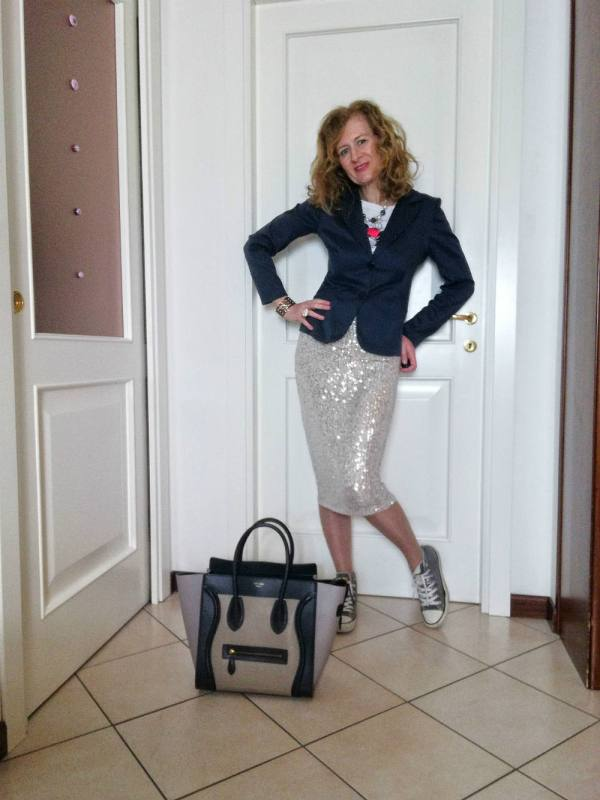 sequin skirt for the office look