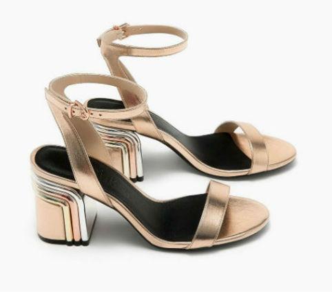 sandalo oro tacco medio