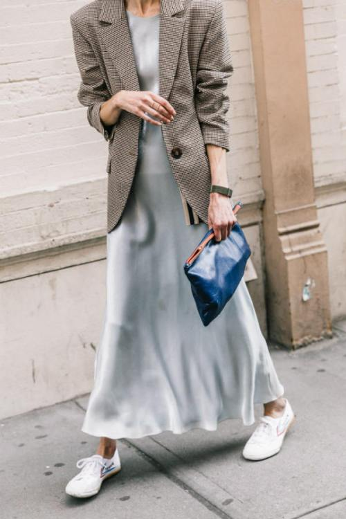 long dress, blazer and sneakers, Pinterest