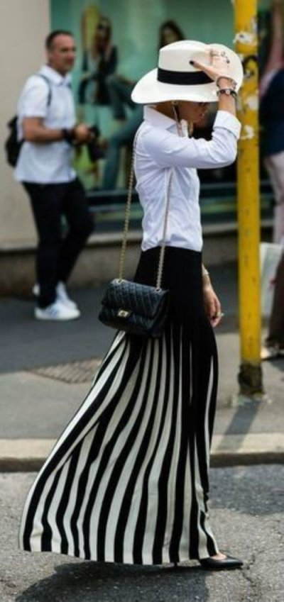 white blouse and long skirt