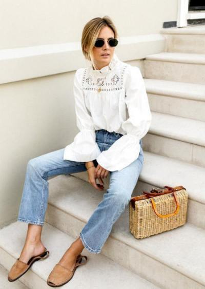 white blouse and denim