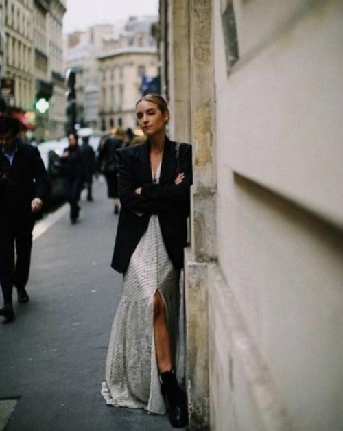 long dress and elegant jacket, Pinterest