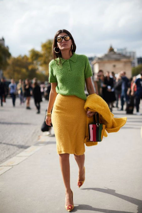 green blouse and yellow skirt