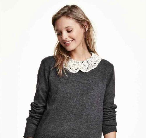 maglione grigio con colletto in pizzo, Pinterest