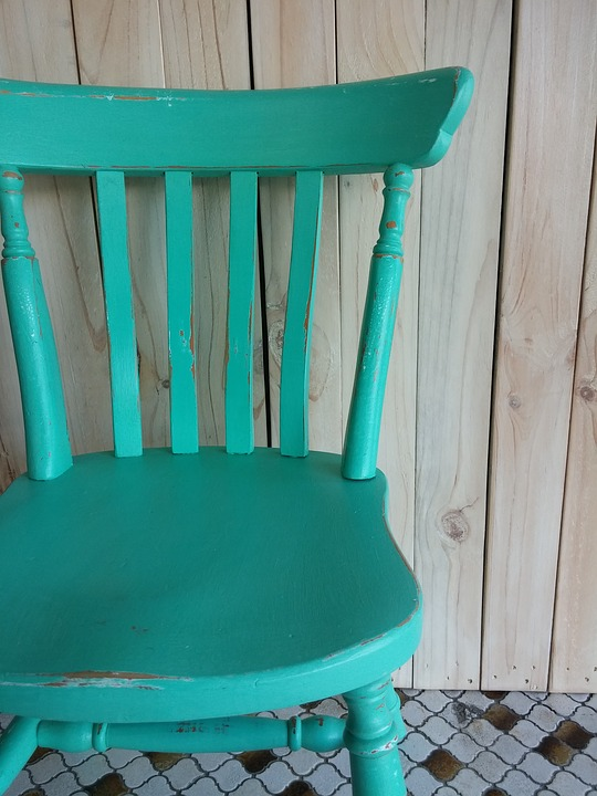 Wall Panels Turquoise Chair Vintage Shabby Chic