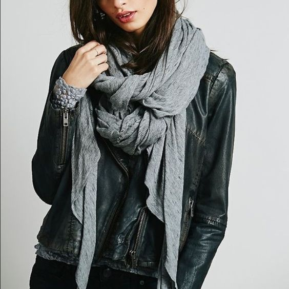 black leather jacket and scarf