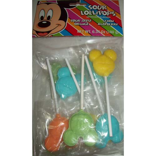 Disney Candy Bag Of SOUR LOLLIPOPS Mickey Mouse Faces