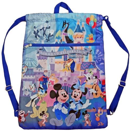 Disney Drawstring Cinch Bag Disneyland 60th Diamond