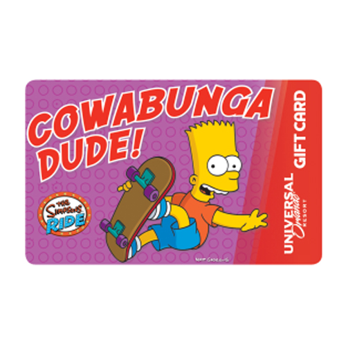 Universal Collectible Gift Card The Simpsons Cowabunga