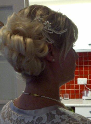 Bridal Hair And Makeup False Hair Piece And Crystal And