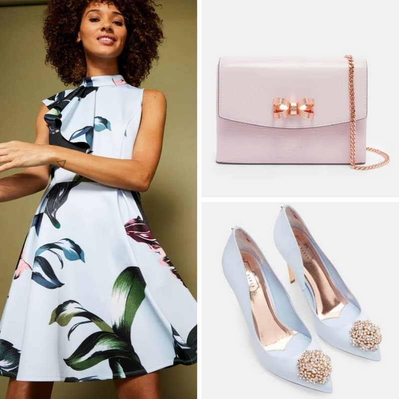 Pastel Ted Baker wedding guest outfit