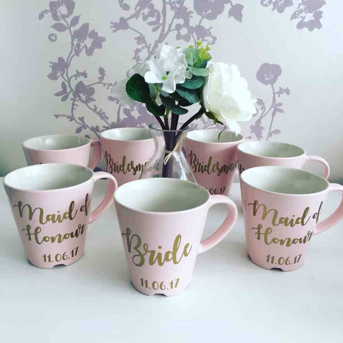 bride and bridesmaid mugs