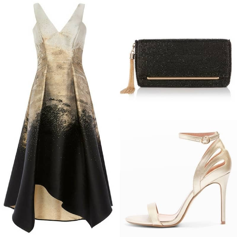 black and gold wedding guest outfit