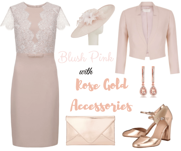 blush outfit with rose gold accessories