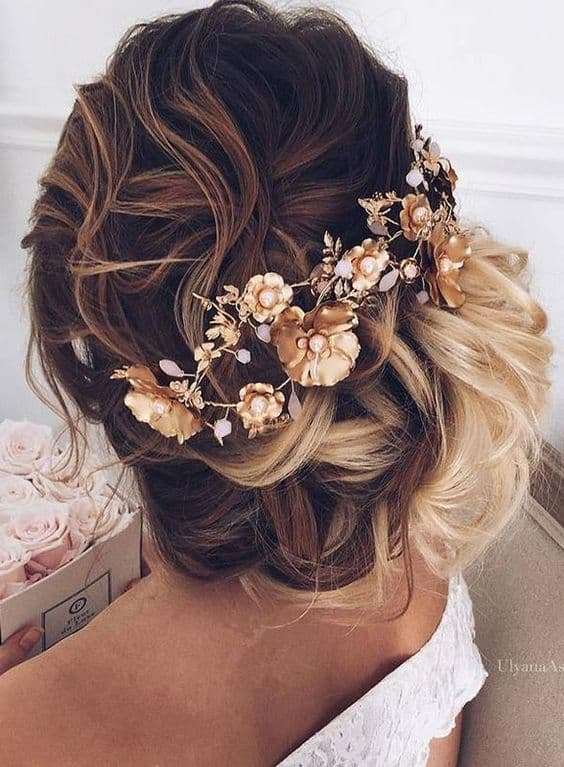 gold floral up do