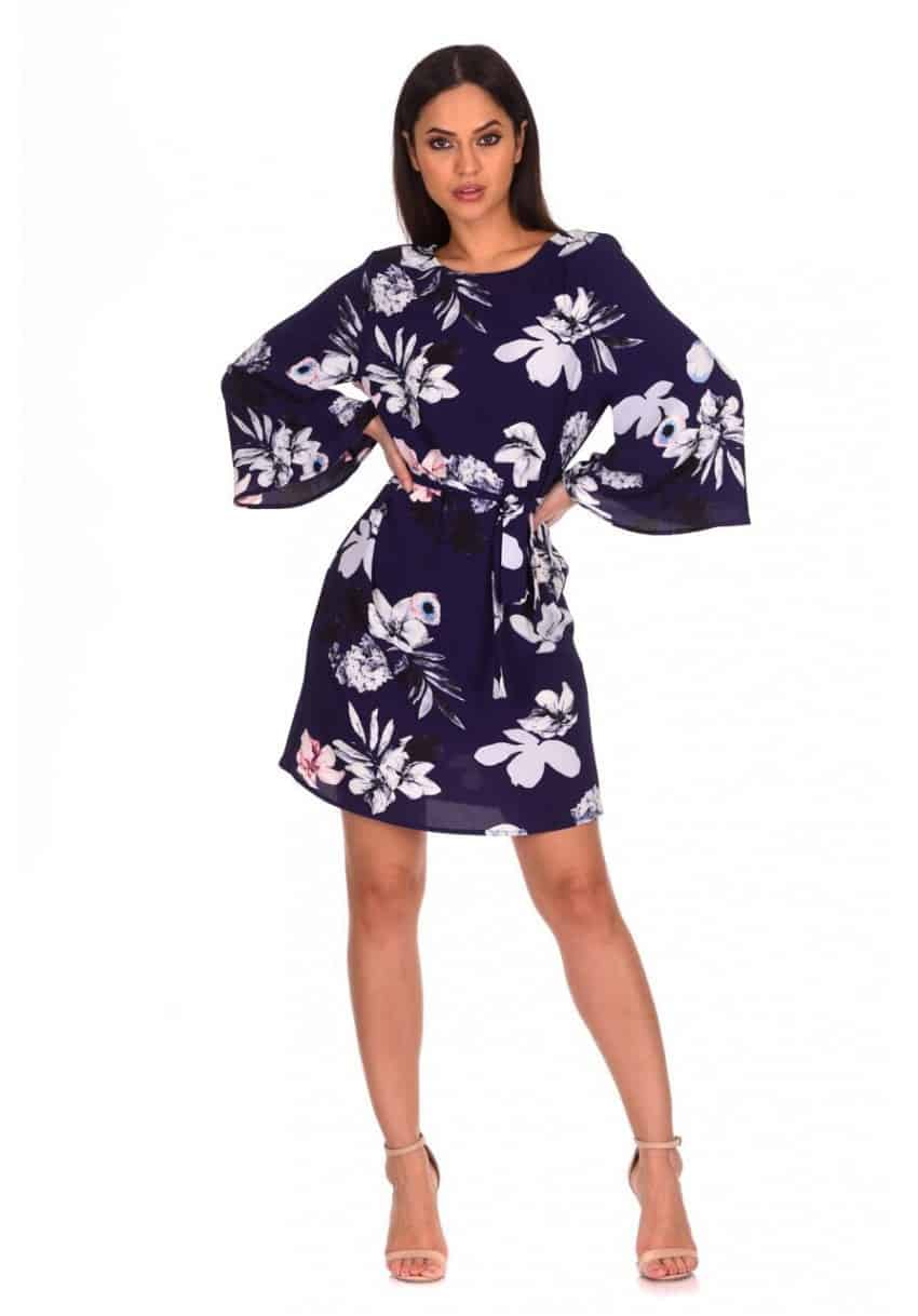 Navy-Flared-Sleeved-Floral-Shift-Dress