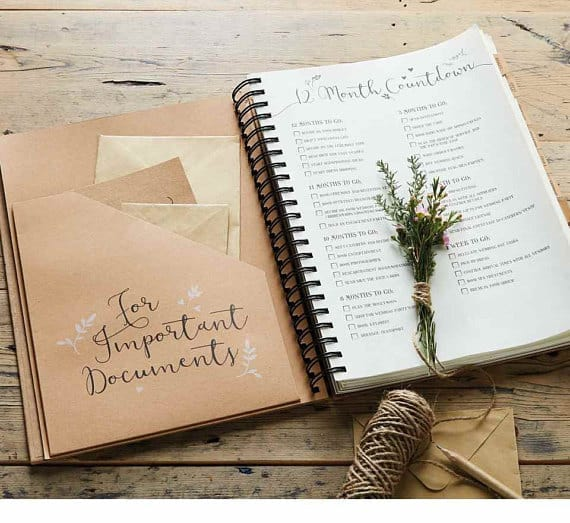 Personalised Kraft Wedding Planner