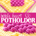 labeled image with two pictures of crochet potholders that reads: bobble heart potholder