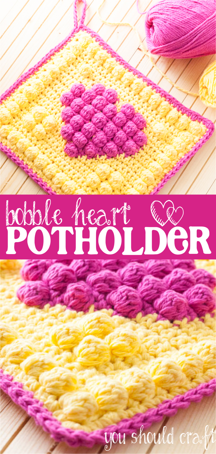 Free Crochet Pattern for the Bright & Bubbly Bobble Heart Potholder | YouShouldCraft.com