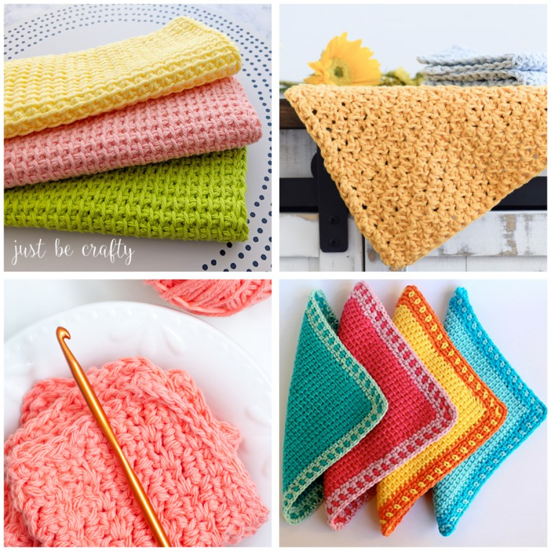 a 4-image collage of brightly colored crochet dishcloths