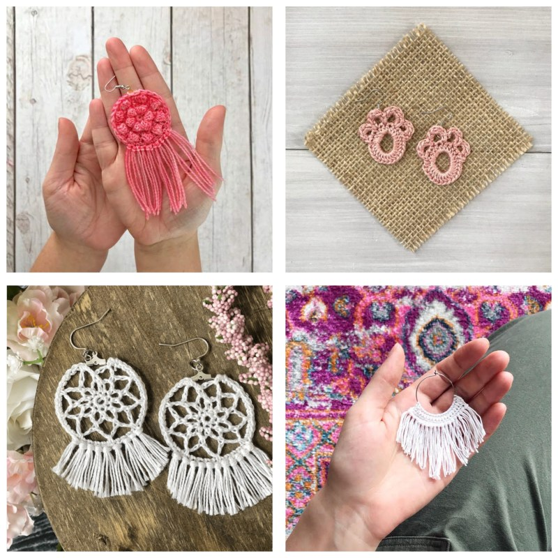 collage of two pairs of crochet earrings and two individual earrings