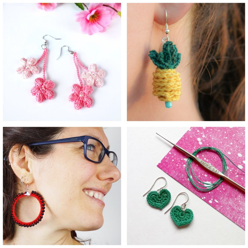 collage of two people wearing crochet earrings and two earring flat lays