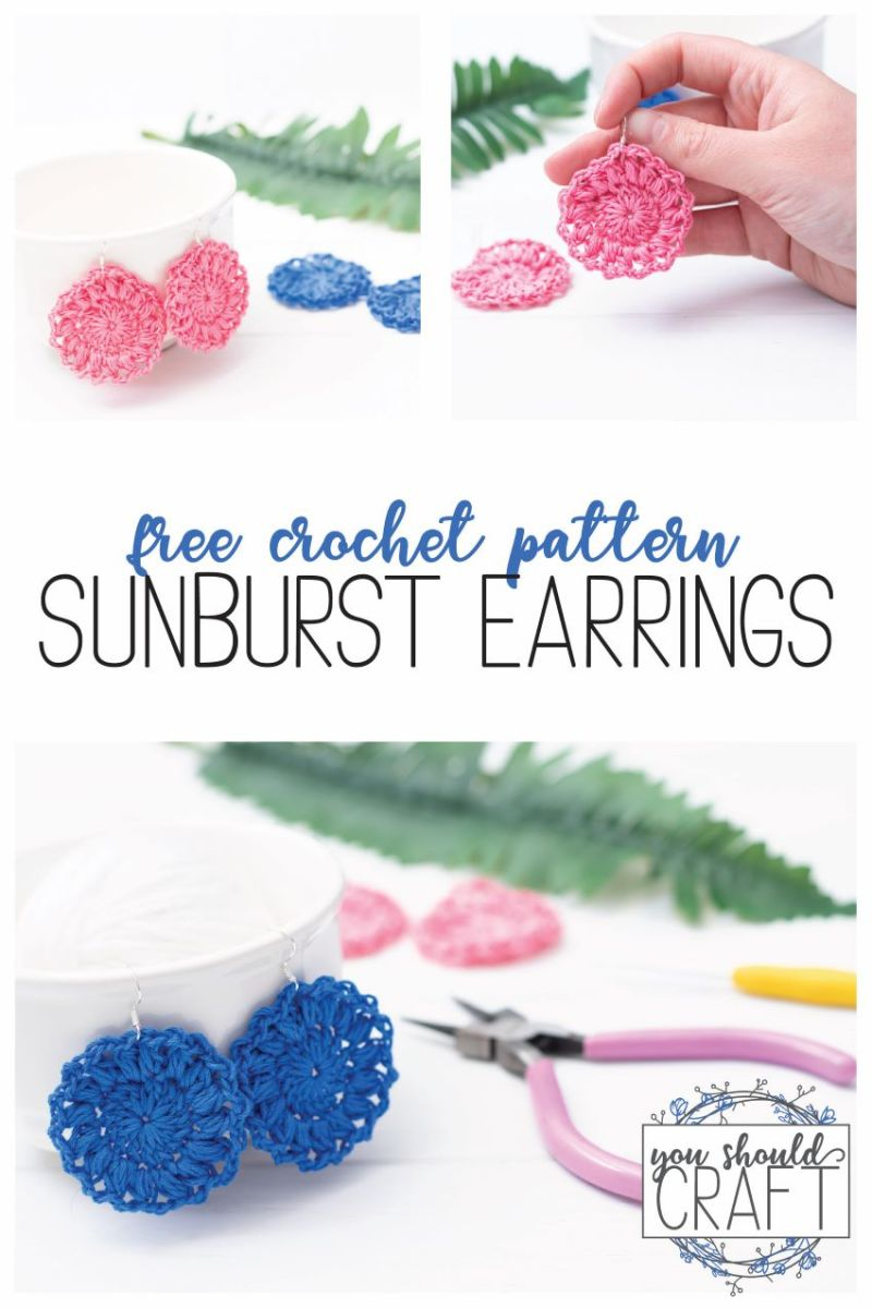 "collage of three sunburst earring images with the text ""free crochet pattern: sunburst earrings"""