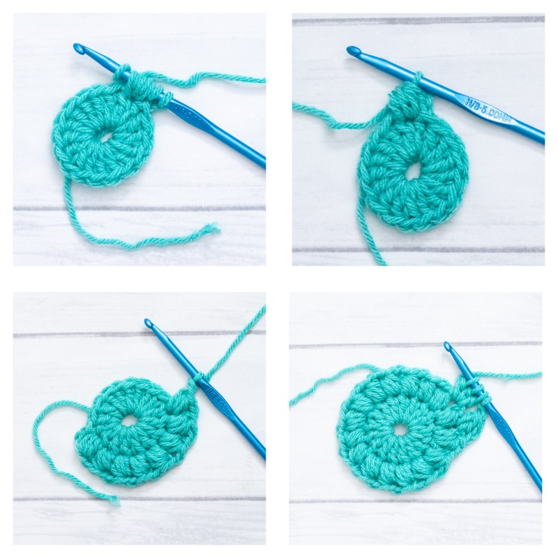 close-ups of how to crochet the puff stitch and dc3tog clusters