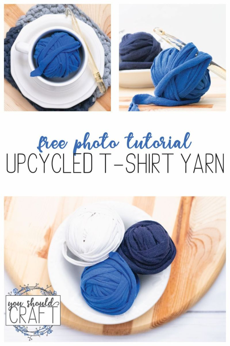 "collage of balls of t-shirt yarn with crochet hooks, wood, and the words ""free photo tutorial: upcycled t-shirt yarn"""