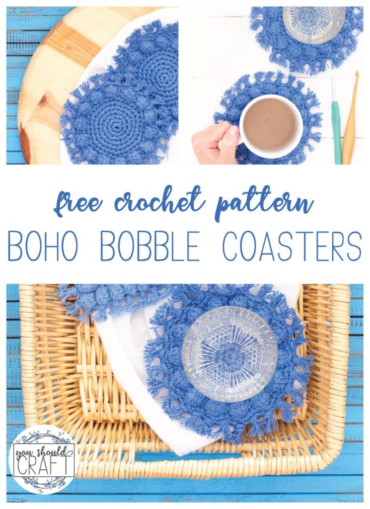 "collage of images of crocheted coasters with the words ""free crochet pattern - boho bobble coasters"""