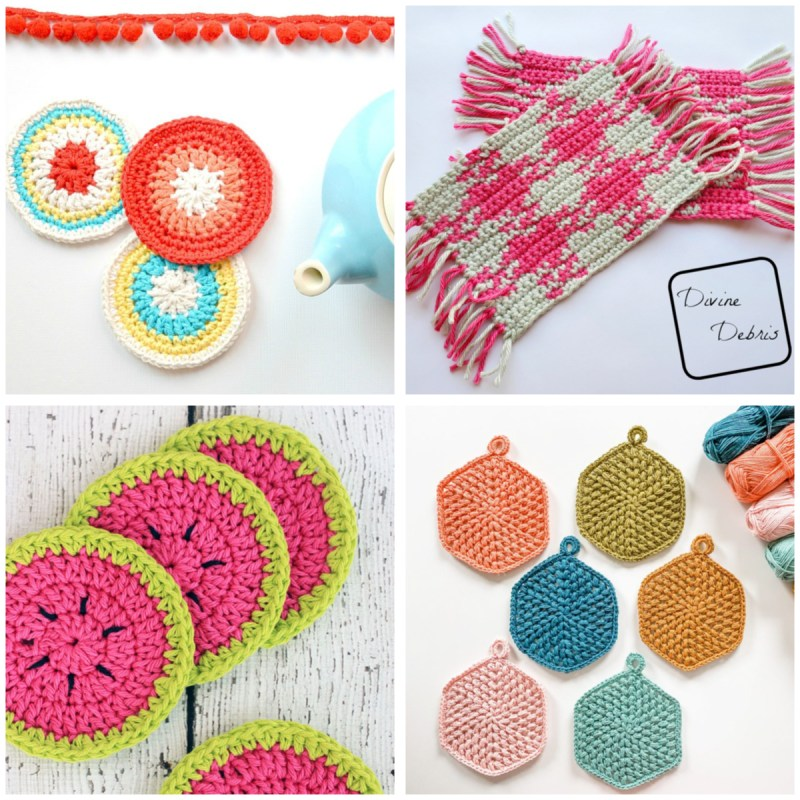 collage of four different types of bright crochet coasters