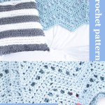 collage of two images of a crochet ripple blanket with text
