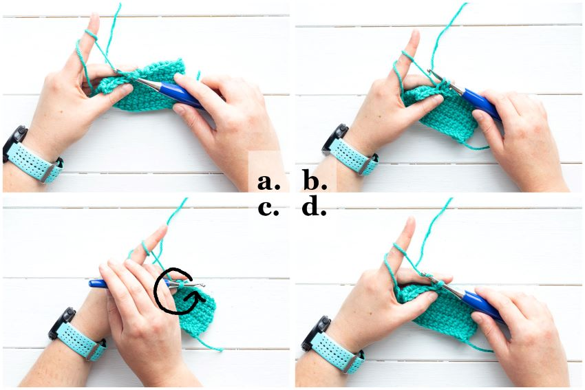 collage of images demonstrating how to crochet the twisted single crochet stitch