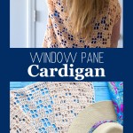 collage of two images of the window pane cardigan with text overlay