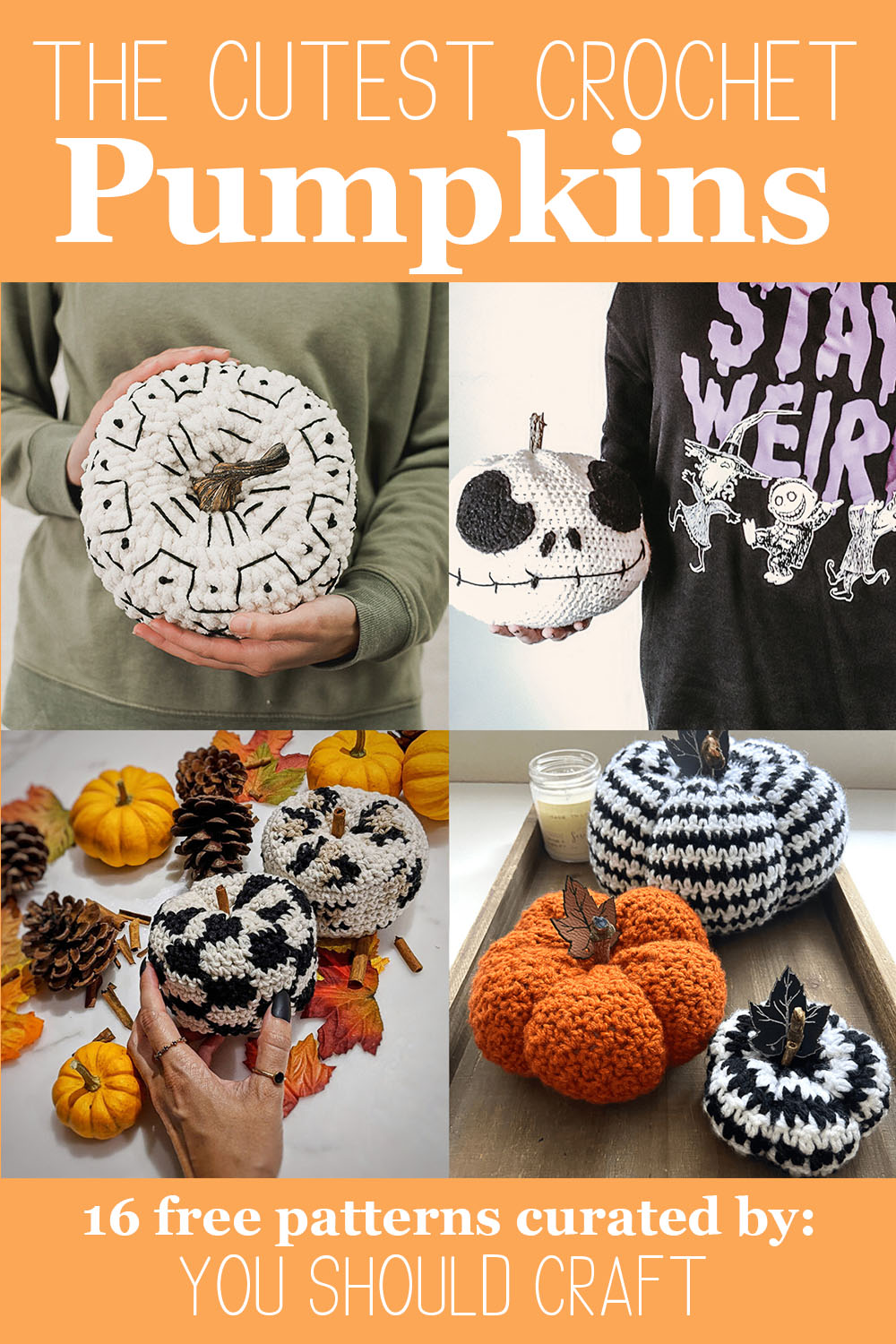 collage of images of crochet pumpkins on an orange background with white text